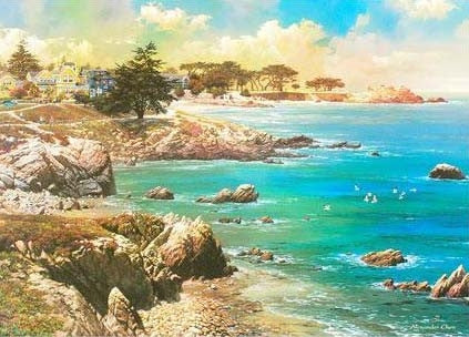 Along the Coast Alexander Chen Offset Lithograph Print Artist Hand Signed and Numbered