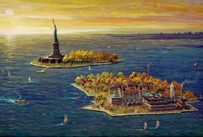 Ellis Island Fall Alexander Chen Mixed Media Print Artist Hand Signed and Numbered