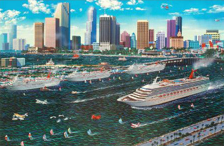 Miami Cruising Alexander Chen Fine Art Mixed Media Print Artist Hand Signed and Numbered