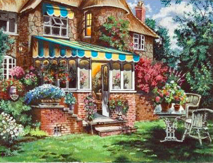 Greenhouse Anatoly Metlan Serigraph Print Artist Hand Signed and Numbered