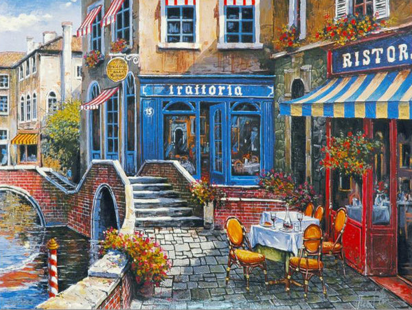 Outdoor Cafe Anatoly Metlan Fine Art Artist Proof Lithograph Print Artist Hand Signed and AP Numbered