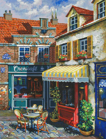 La Ruelle Anatoly Metlan Hand Embellished Canvas Serigraph Print Artist Hand Signed and Numbered