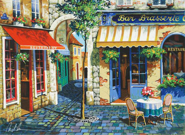 Cafe in Provence Anatoly Metlan Fine Art Lithograph Print Artist Hand Signed and Numbered