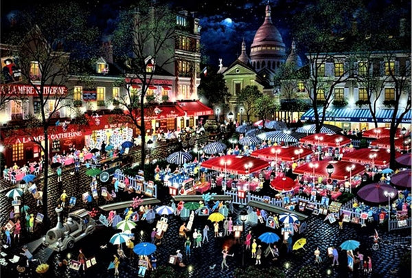 A Night at Montmartre Alexander Chen Mixed Media Print Artist Hand Signed and Numbered