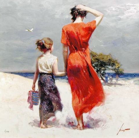 Afternoon Stroll Pino Daeni Giclee Print Artist Hand Signed Numbered Fine Art Giclee Print Artist Hand Signed and Numbered