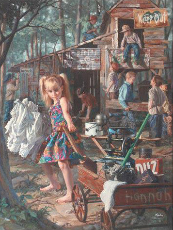 Bob Byerley The Clubhouse Fine Art Hand Embellished Giclee Print on Stretched Canvas Artist Hand Signed and Numbered