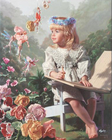 Bob Byerley Naming of the Flowers Fine Art Hand Embellished Canvas Giclee Print Artist Hand Signed and Numbered