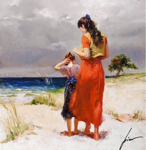 Beachwalk Pino Daeni Fine Art Giclee Print Artist Hand Signed and Numbered