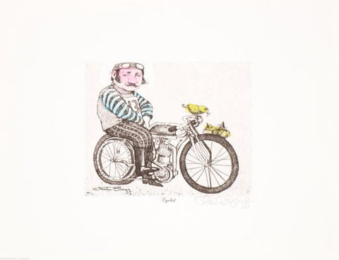 Cyclist Charles Bragg Hand Water Colored One of a Kind Fine Art Lithograph Print Artist Hand Signed