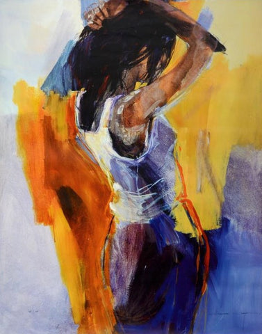 Lady in Blue Christine Comyn Giclee Print on Canvas Artist Hand Signed and Numbered