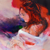 Woman in Red Christine Comyn Giclee Print on Canvas Artist Hand Signed and Numbered
