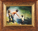 Explorers Carrie Graber Oil Painting on Canvas Board Artist Hand Signed and Framed