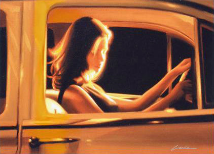 Night Driver Carrie Graber Canvas Giclee Print Artist Hand Signed and Numbered