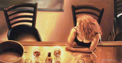 Meet Me at the Bar Carrie Graber Canvas Giclee Print Artist Hand Signed and Numbered