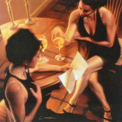 Sister Night Out Carrie Graber Canvas Giclee Print Artist Hand Signed and Numbered