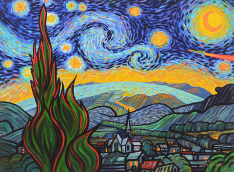 Starry Night Attack Charles Lynn Bragg Fine Art Canvas Giclee Print Artist Hand Signed and Numbered