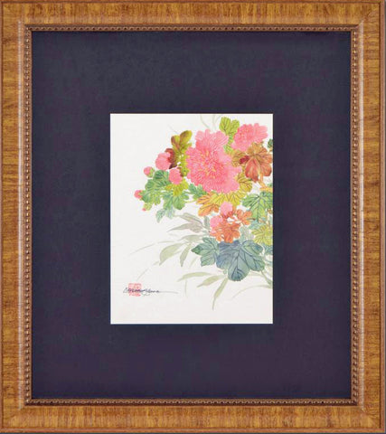 Floral Caroline Young Original Gouache Painting Artist Hand Signed and Custom Framed