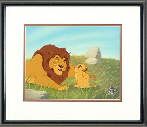 Pouncing Lessons Disney Studios Classic Sericel with Full Color Background Framed