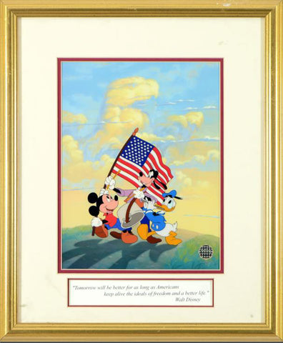 Spirit of America Disney Studios Classic Sericel with Full Color Background Framed
