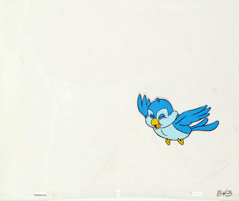 Blue Bird Disney Studios Hand Painted Production Animation Cel with Matching Pencil Drawing