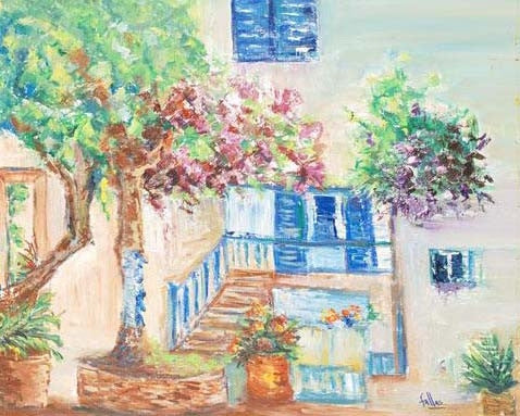 Mykonnos Retreat Elliot Fallas Original Oil Painting on Stretched Canvas Artist Hand Signed