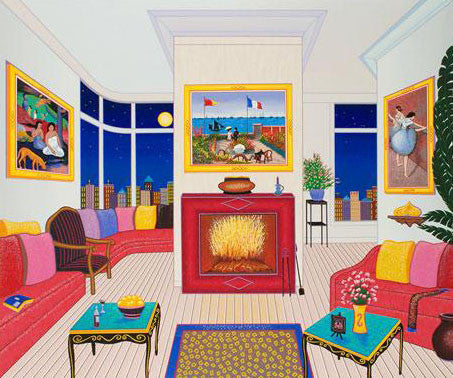 Interior with Three Masterpieces Fanch Ledan Artist Proof Fine Art Serigraph Print Artist Hand Signed and Numbered