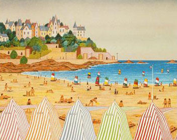La Plage de Dinard Fanch Ledan Fine Art Lithograph Print Artist Hand Signed and HC Numbered
