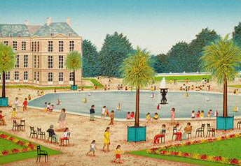 Bassin du Luxembourg Fanch Ledan Artist Proof Fine Art Lithograph Print Artist Hand Signed and AP Numbered