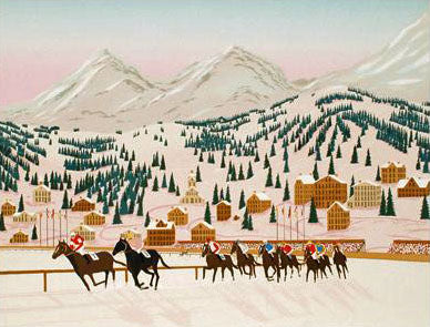 Horseracing in St Moritz Fanch Ledan Lithograph Print Artist Hand Signed and Numbered