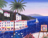 Terrasse Portofino Fanch Ledan Fine Art Canvas Giclee Print Artist Hand Signed and Numbered