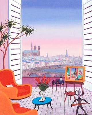 Balcony over Paname Fanch Ledan Fine Art Canvas Giclee Print Artist Hand Signed and Numbered