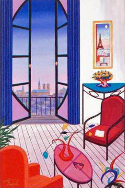 Balcony over Notre Dame Fanch Ledan Canvas Giclee Print Artist Hand Signed and Numbered
