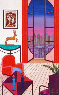 Balcony Over Manhattan Fanch Ledan Canvas Giclee Print Artist Hand Signed and Numbered