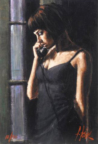 The Phone CalI Fabian Perez Artist Proof Fine Art Giclee Print on Canvas Board Artist Hand Signed and Numbered