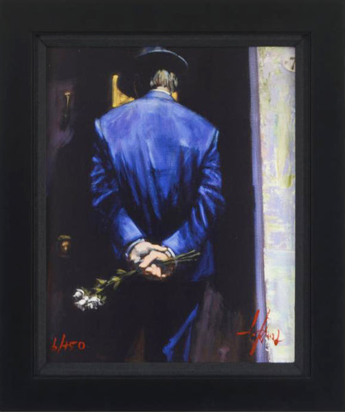 Nocturnal Surprise I Fabian Perez Giclee Print on Canvas Board Artist Hand Textured Signed Numbered and Framed
