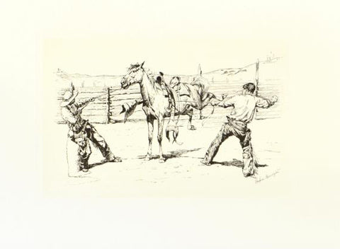Bronco Busters Saddling Etching by Frederic Remington (1861-1909)