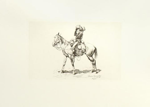 A Pull at the Canteen - Etching by Frederic Remington (1861-1909)
