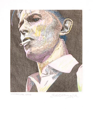 Chiaroscuro David Bowie Guillaume Azoulay One Of A Kind Fine Art Hand Colored Mixed Media Artist Hand Signed