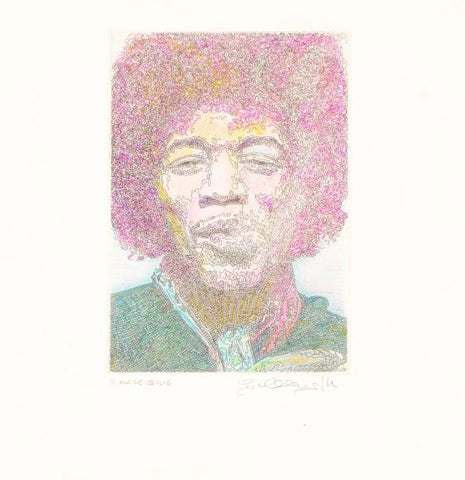 Nuage Jimi Hendrix Guillaume Azoulay One Of A Kind Hand Colored Fine Art Mixed Media Artist Hand Signed and Numbered