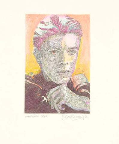 Anisocoria David Bowie Guillaume Azoulay One Of A Kind Hand Colored Mixed Media Artist Hand Signed