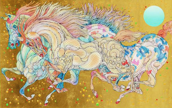 Stardust Guillaume Azoulay Gold Leaf Embellished Serigraph Print Artist Hand Signed and Numbered