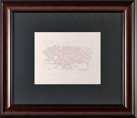 Essai AN Guillaume Azoulay Original Color Pencil Drawing Artist Hand Signed and Framed