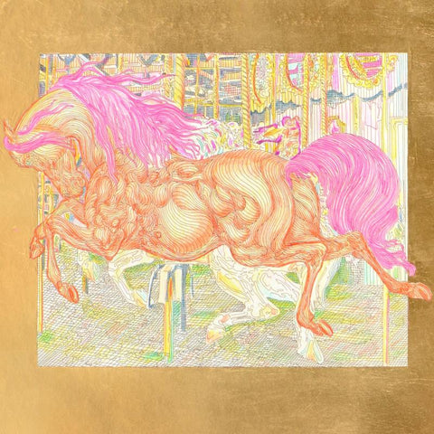 Manege II Guillaume Gold Leaf Embellished hand Colored Etching Artist Hand Signed and Numbered