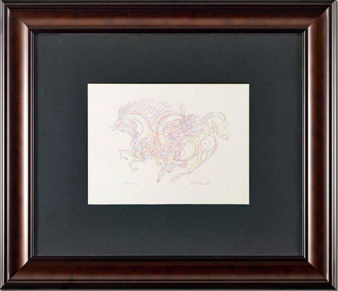 Etude AZI Guillaume Azoulay Original Color Pencil Drawing Artist Hand Signed and Framed