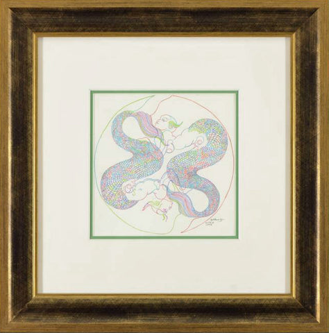 Zodiac Series Pisces Guillaume Azoulay Original Color Pencil Drawing Artist Hand Signed and Framed