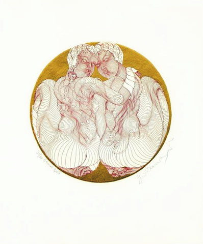 Zodiac Series Gemini Guillaume Azoulay Etching Artist Hand Embellished Gold Leaf Hand Signed and Numbered
