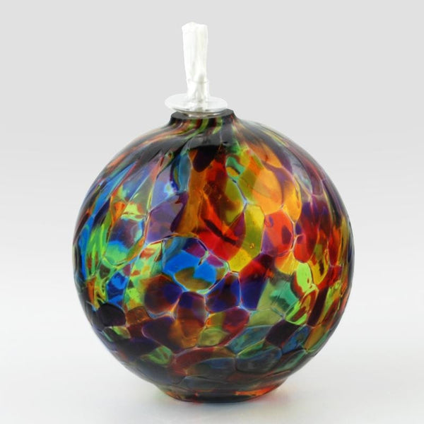 Glass Eye Studio Rainbow Round Oil Lamp Hand Blown Glass Sculpture Artist Hand Signed Containing Volcanic Ash from the 1980 Eruption of Mount St Helens