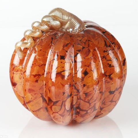 Glass Eye Studio Artist Signed Hand Blown Glass Pumpkin Sculpture