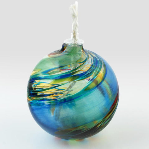 Glass Eye Studio Chameleon Hand Blown Glass Oil Lamp Sculpture Artist Hand Signed Containing Volcanic Ash from the Eruption of Mount St Helens