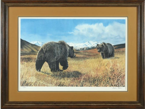 Bears Meeting Charles Gause Lithograph Print Artist Hand Signed Numbered and Framed